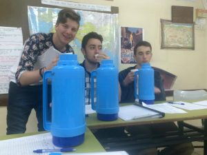Brandon Ptasnik ('17), Noah Daniel ('17) and Sawyer Kroll ('17) drinking out of their 2 liter bottles.