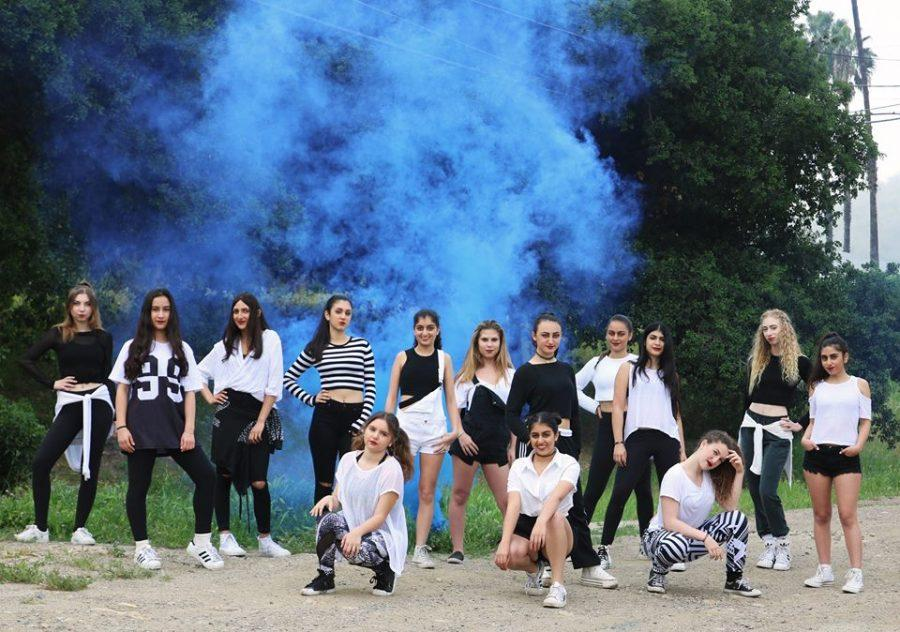 The full dance squad from left to right: Kaley Weil '16, Lexie Kamran '19, Nikki Tour '19, Niki Kashfian '16, Lila Hanish '17, Sophie Bina '18, Kaile Applebaum '16, Isabel Bina '17, Natalie Pashaie '16, Tiffany Moalemzadeh '16, Kayla Pournazarian '16, Adi Arbiv '19, Gaby Dromy '16, Talia Shakib '18.