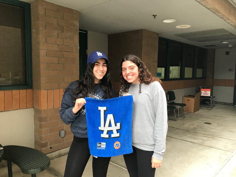 New Dodger fans Eliya Makabeh '19 and Yonit Robin '19 sporting Dodger Blue