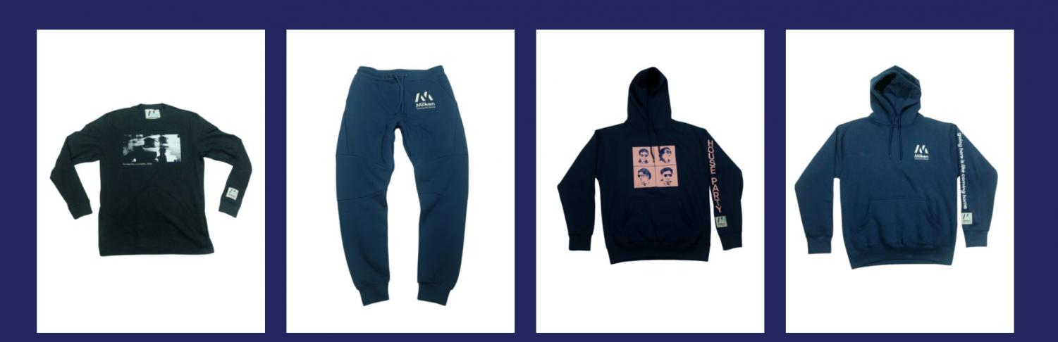 Image of two hoodies, a crewneck, and sweatpants from the recent merch line