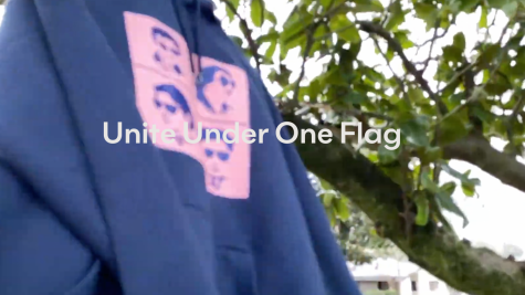 "Milken House Party merchandise hoodie displayed with title ""United Under One Flag"""
