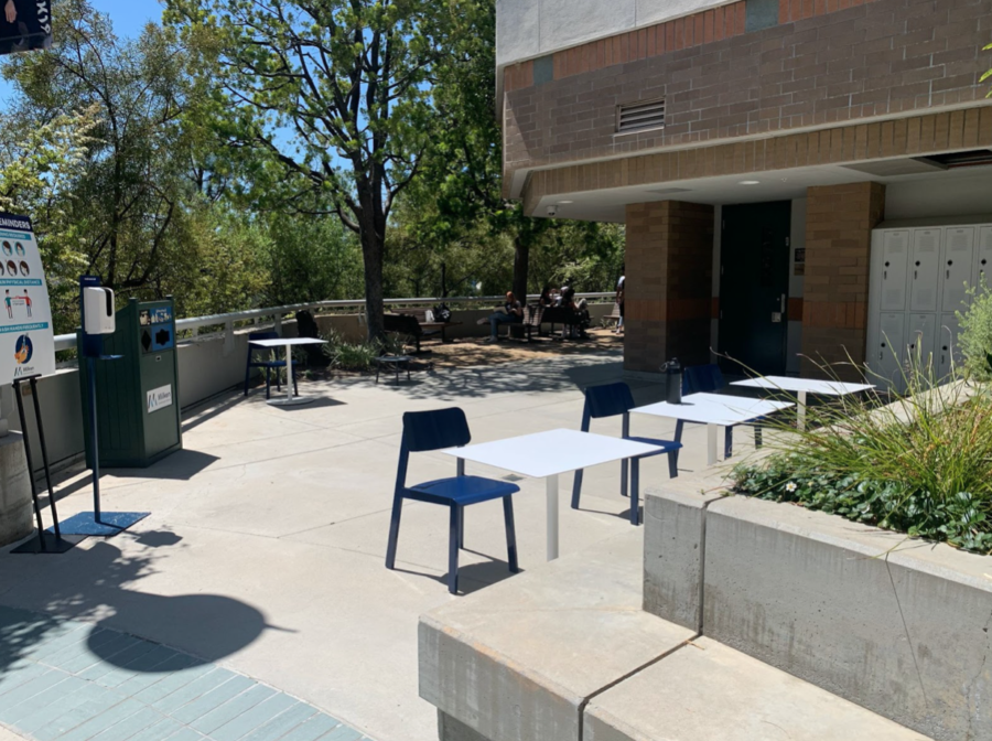 Socially-distanced lunch tables featuring new tables and chairs