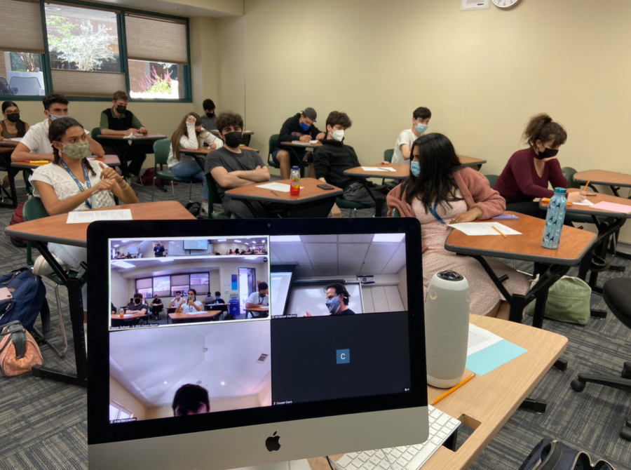 Following the announcement that all seniors were invited onto campus, there were only two students on Zoom; the rest of Mr. Karpel's 12th-grade J-block students were on campus