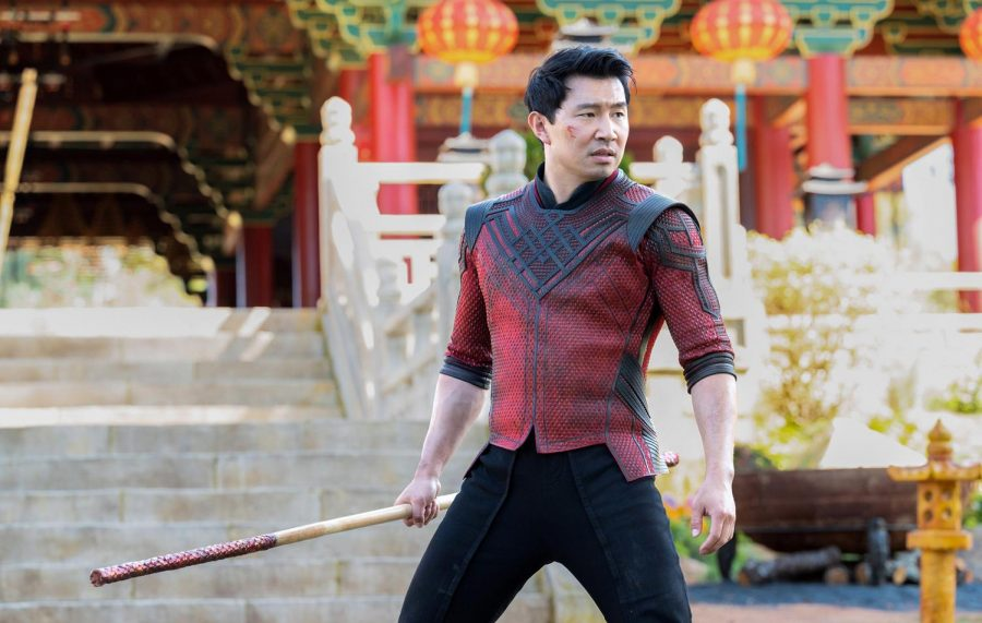 Simu Liu, star of Shang-Chi and the Legend of the Ten Rings, as the titular role in battle stance