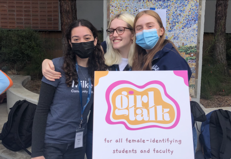 Eden Sweet ('22), Girl Talk's Senior Head, Maya Ziv ('23), one of Girl Talk's Junior Heads, and Kate Behrman ('23), a member of the Planning Committee, recruit new Girl Talk members at the Club Fair.