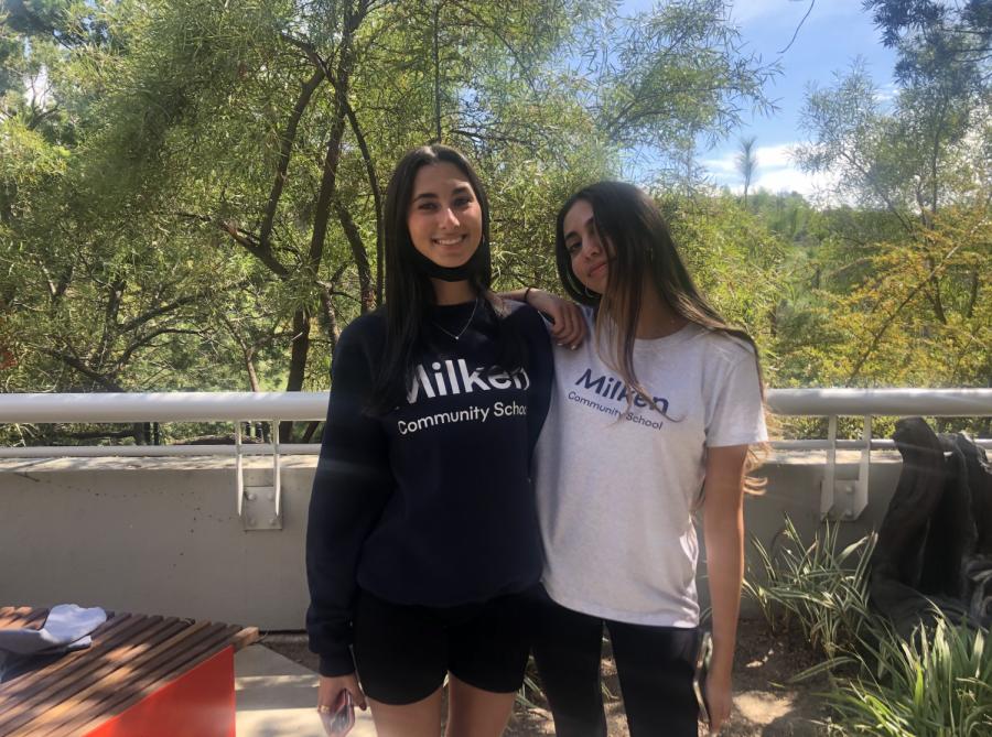 Juniors Lauren Lieberman 23 and Sophia Novian 23 wearing their Milken Merch.